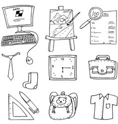 Computer bag ruler paper element doodles school vector