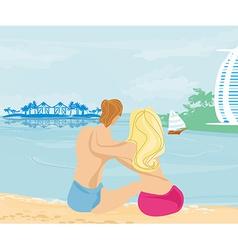 couple on tropical beach vector image vector image