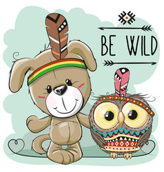 cute cartoon dog and owl vector image