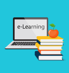 e-learning with laptop vector image
