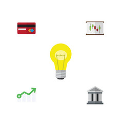 Flat icon incoming set of bank growth diagram vector