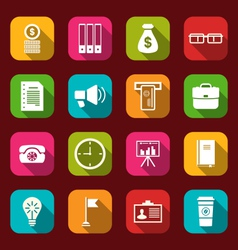 group simple and trendy flat icons of business and vector image