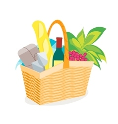 Picnic Basket Full of Food and Wine vector image