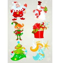 set santa claus and friends vector image vector image