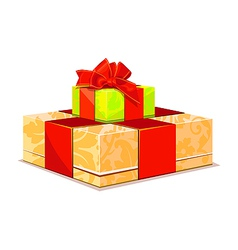 two colorful gift box on white background vector image vector image