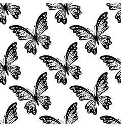 Black and white seamless pattern of butterflies vector image vector image