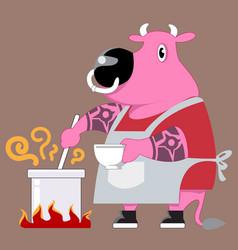 chef cow cartoon vector image