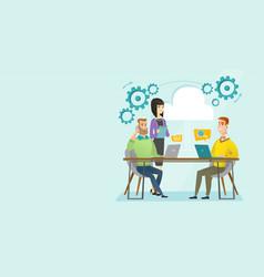 multiethnic people working in office under cloud vector image vector image