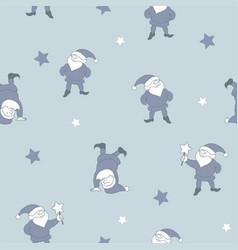 Seamless pattern with santa helpers vector