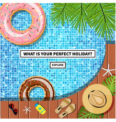travel banner with swimming pool vector image vector image
