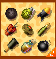 weapon icons vector image vector image