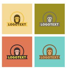 assembly flat icons nature monkey logo vector image