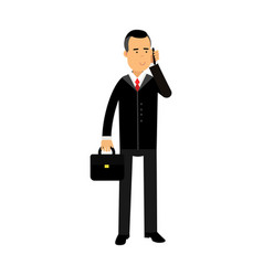 businessman character in black suit standing with vector image