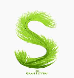 letter s of juicy grass alphabet green s vector image