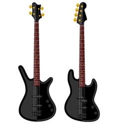 Modern electric bass guitars vector image vector image