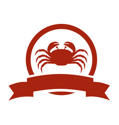 red circular border with crab and label vector image vector image
