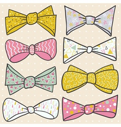 Set of hand drawn bow with cute ornaments vector image