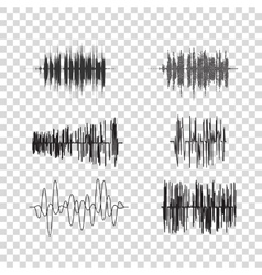 sound waves set on transparent Audio vector image
