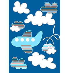 Striped passenger plane flying through the clouds vector image vector image