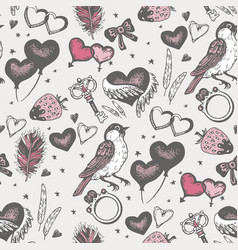 bird with pink heart seamless pattern vector image vector image