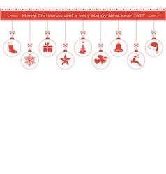 Red Christmas ornaments border header vector image