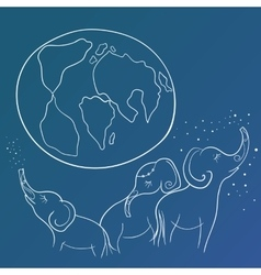 Sketch with Elephant Family and the Earth vector image