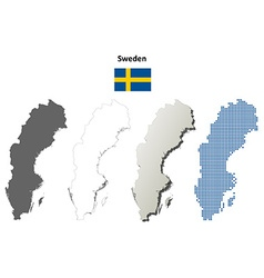 Sweden outline map set vector
