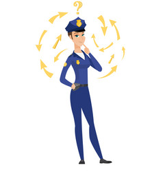Thinking policewoman with question mark vector