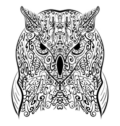 Zentangle stylized Black Owl vector image