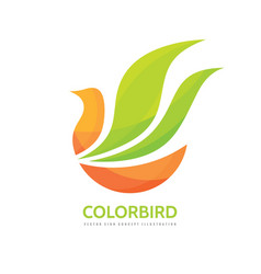 abstract color bird - logo template concept vector image