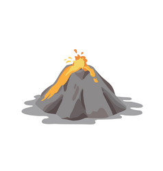 Active volcano erupting and ejecting lava fountain vector