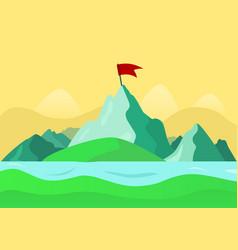 beautiful summer mountain landscape river vector image