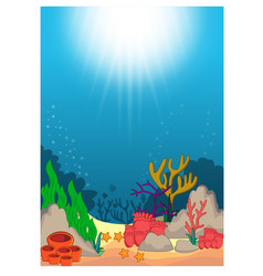 beautiful underwater world cartoon vector image