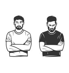 Black and white stylish man logo vector