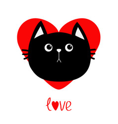 black cat head icon red heart cute funny cartoon vector image vector image