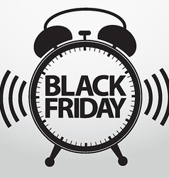 Black friday alarm clock icon vector image