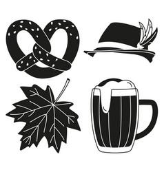 black white oktoberfest 4 elements silhouette set vector image