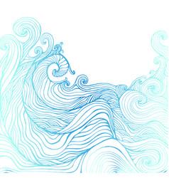 blue and dark blue decorative doodles waves vector image