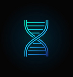 Blue dna strand outline icon or logo vector