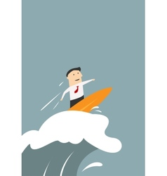 Businessman surfing on a wave of success vector