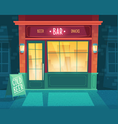 Cartoon background with bar at night vector