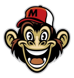 Cartoon cheerful monkey face vector