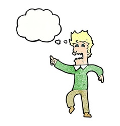 Cartoon frightened man pointing with thought vector