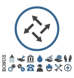 Centrifugal Arrows Flat Rounded Icon With vector