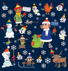 Christmas snowmen set characters vector
