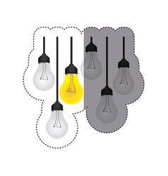 color sticker silhouette with set of bulb lights vector image