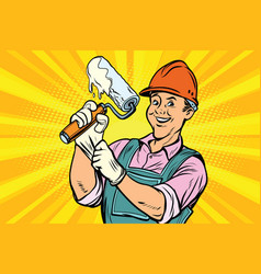 construction worker with roller for paint vector image
