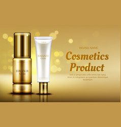Cosmetics beauty product bottles with bokeh vector