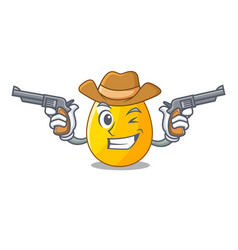 Cowboy golden egg cartoon for greeting card vector