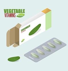 Cucumber pills in pack Vegetarian Vitamins Tablets vector image